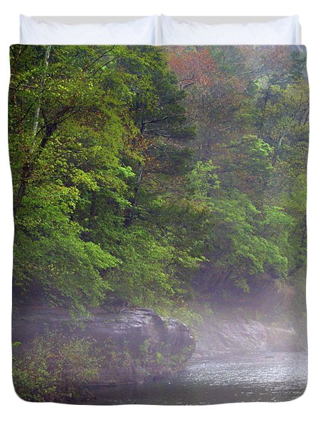 Misty Morning On The Buffalo Duvet Cover by Marty Koch