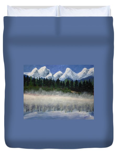 Misty Morning On The Mountain Duvet Cover