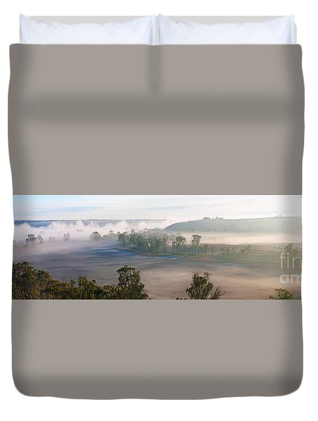 Misty Morning On The Murray Duvet Cover by Bill  Robinson