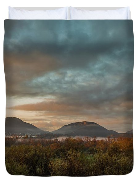 Misty Morning Over The San Diego River Duvet Cover