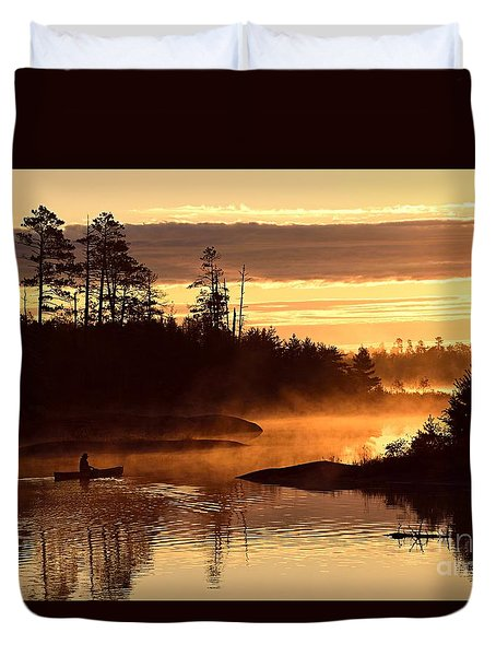 Duvet Cover featuring the photograph Misty Morning Paddle by Larry Ricker