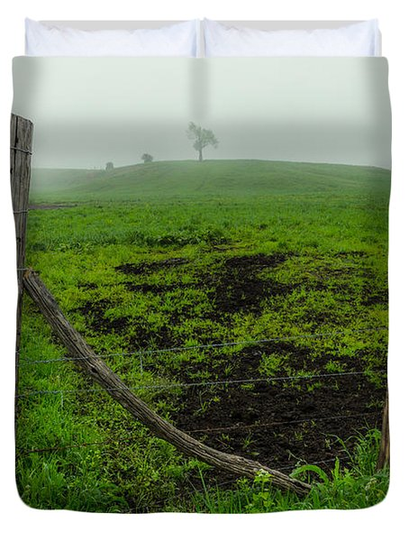 Misty Morning Pasture Duvet Cover