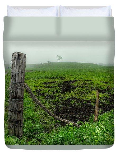 Misty Morning Pasture Duvet Cover