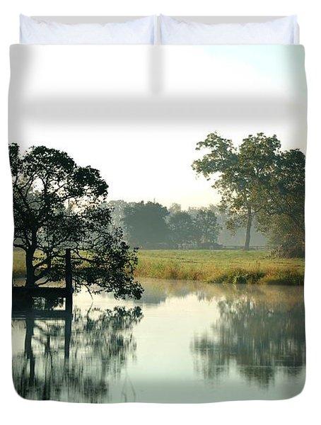 Misty Morning Pond Duvet Cover