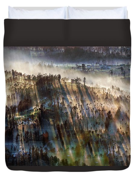 Duvet Cover featuring the photograph Misty Morning by Pradeep Raja Prints