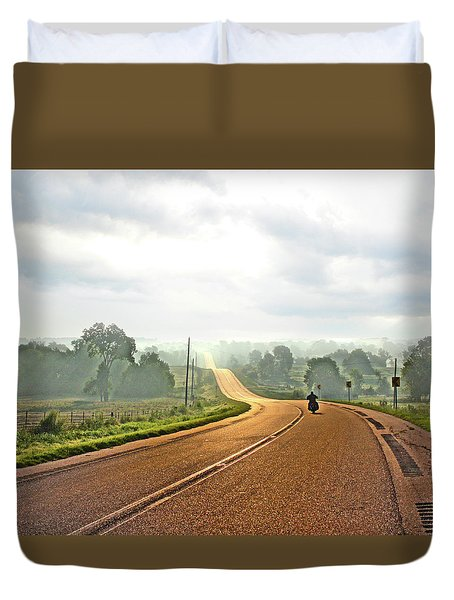 Misty Morning Ride Arkansas Duvet Cover
