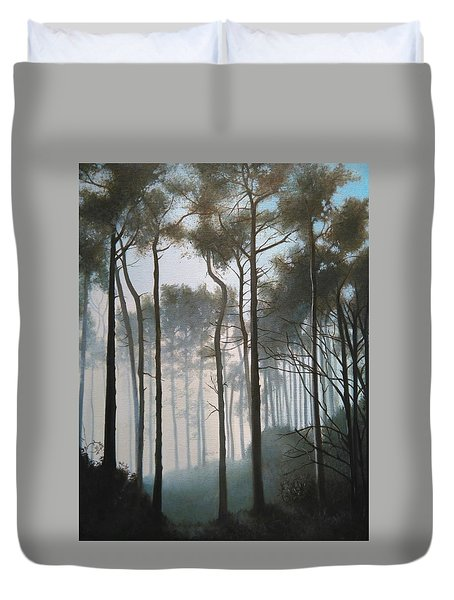 Misty Morning Walk Duvet Cover