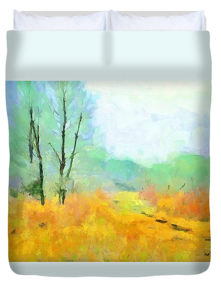 Duvet Cover featuring the painting Misty Morning by Wayne Pascall