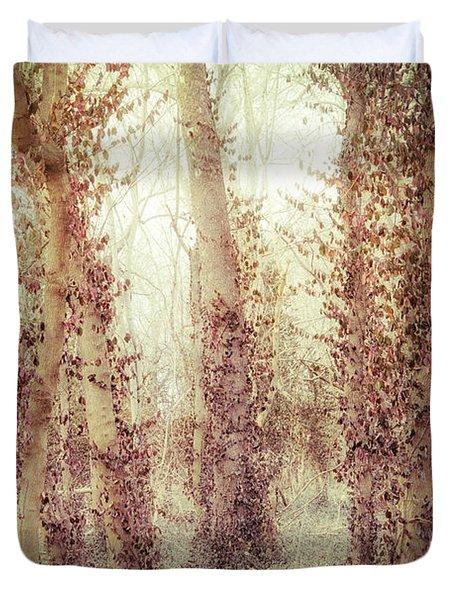 Misty Morning Winter Forest  Duvet Cover