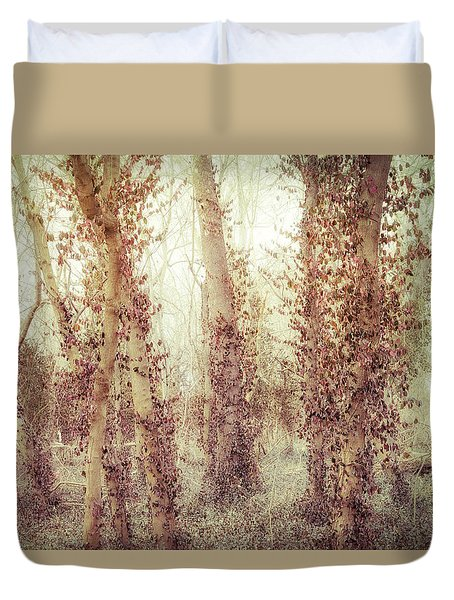 Misty Morning Winter Forest  Duvet Cover