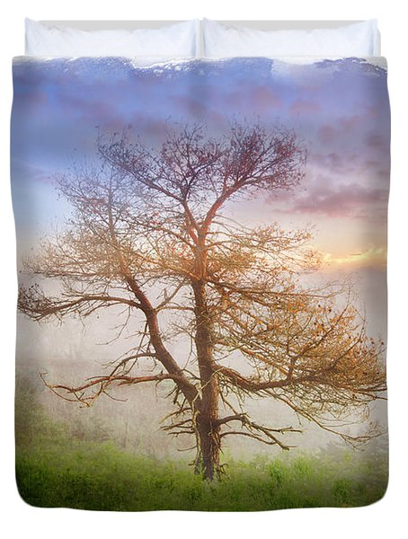 Misty Mountain Duvet Cover by Debra and Dave Vanderlaan