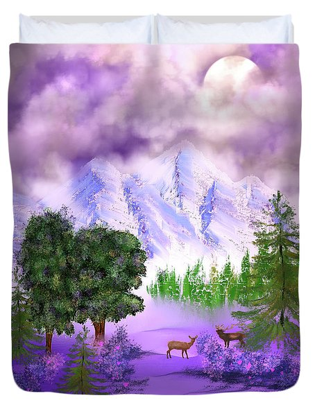 Misty Mountain Deer Duvet Cover