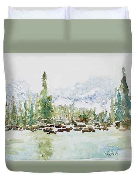 Misty Mountain Lake Duvet Cover by Mary Benke