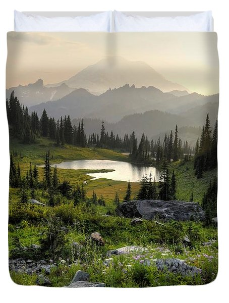 Misty Mountain Landscape Duvet Cover