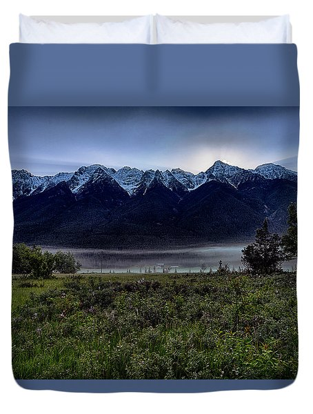 Duvet Cover featuring the photograph Misty Mountain Morning Meadow  by Darcy Michaelchuk