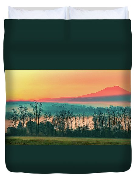 Misty Mountain Sunrise Part 2 Duvet Cover by Alan Brown