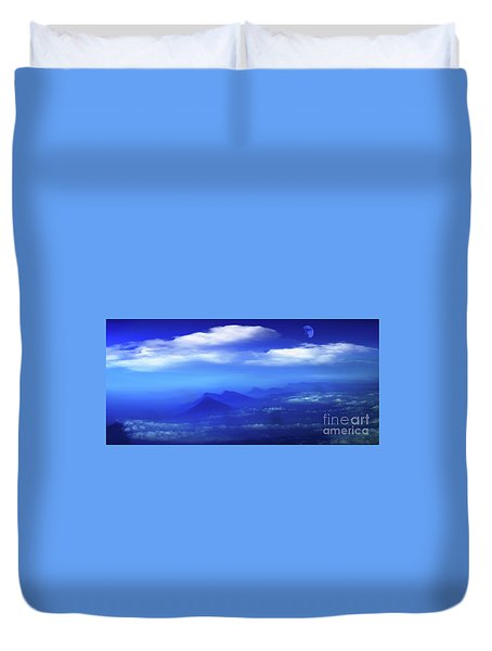 Misty Mountains Of San Salvador Panorama Duvet Cover by Al Bourassa