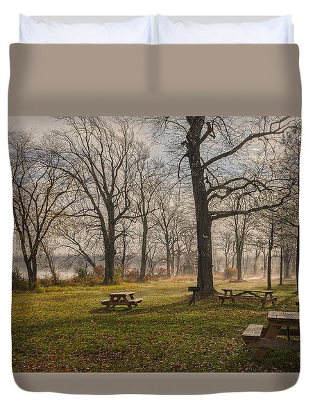 Misty November Picnic Grove Duvet Cover