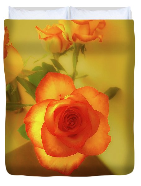 Misty Orange Rose Duvet Cover