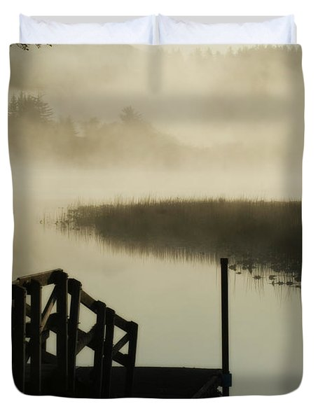 Misty Oregon Morning Duvet Cover