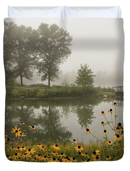 Misty Pond Bridge Reflection #3 Duvet Cover