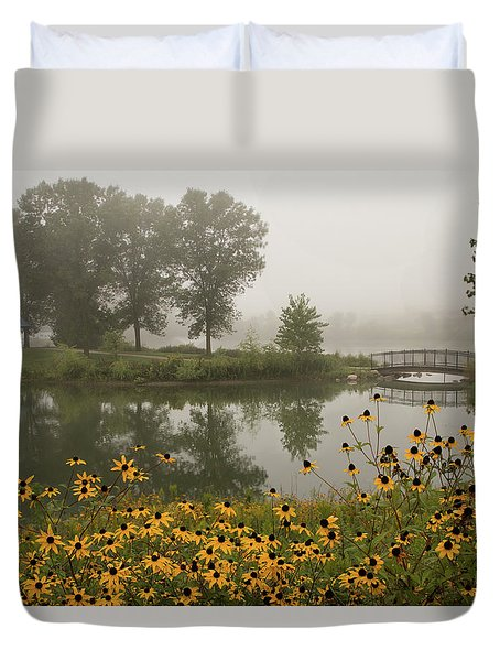Duvet Cover featuring the photograph Misty Pond Bridge Reflection #3 by Patti Deters
