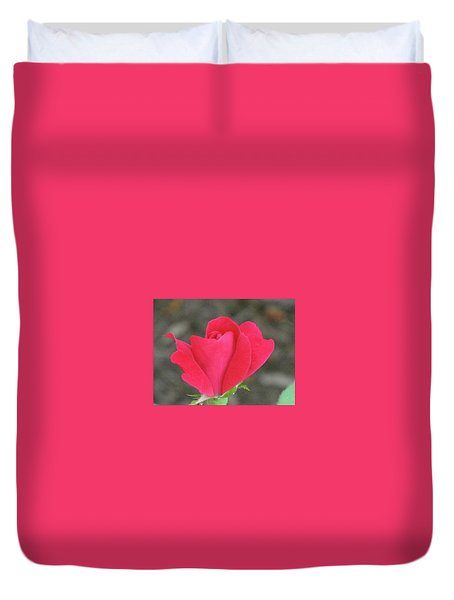 Misty Red Rose Duvet Cover