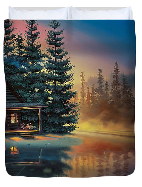 Duvet Cover featuring the painting Misty Refection by Al Hogue