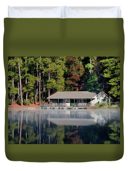 Duvet Cover featuring the photograph Misty Reflection At Durant by George Randy Bass