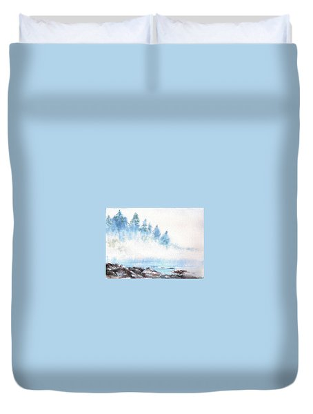Duvet Cover featuring the painting Misty River by Asha Sudhaker Shenoy