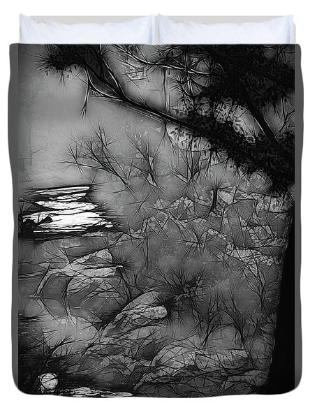 Duvet Cover featuring the photograph Misty River by Elaine Teague