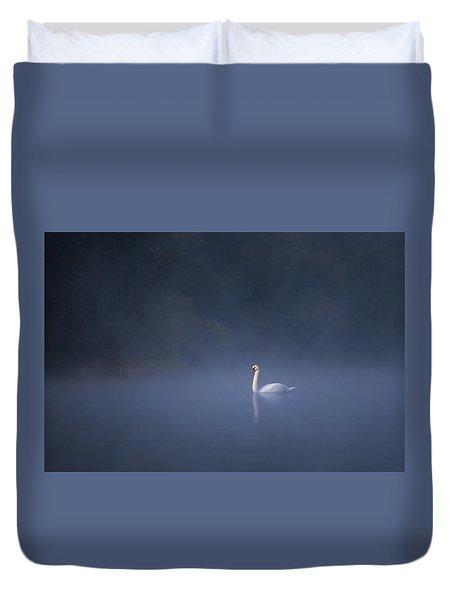 Duvet Cover featuring the photograph Misty River Swan by Davor Zerjav