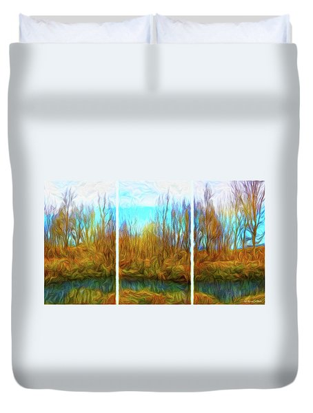 Misty River Vistas - Triptych Duvet Cover