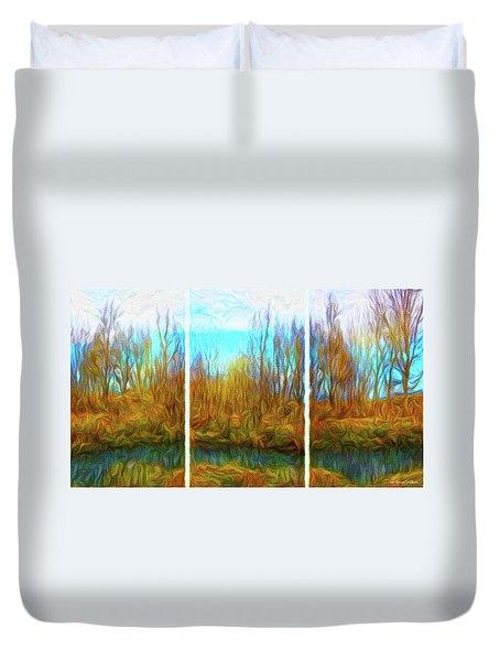 Misty River Vistas - Triptych Duvet Cover