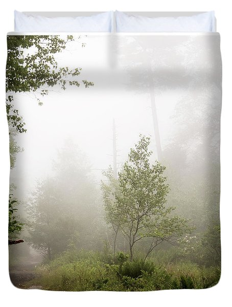 Misty Road At Forest Edge, Pocono Mountains, Pennsylvania Duvet Cover