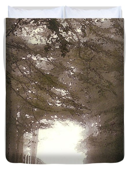 Duvet Cover featuring the digital art Misty Road by Julian Perry