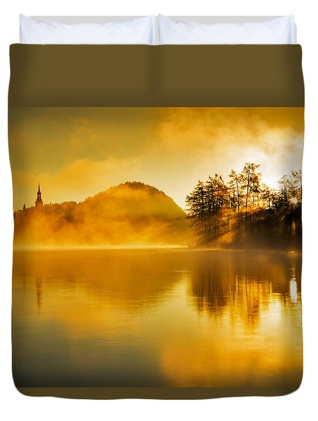 Duvet Cover featuring the photograph Misty Sunrise At Lake Bled by Ian Middleton