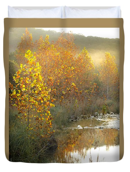 Misty Sunrise At Lost Maples State Park Duvet Cover