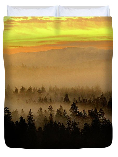 Duvet Cover featuring the photograph Misty Sunrise by Ben Upham III
