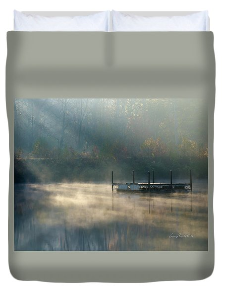 Duvet Cover featuring the photograph Misty Sunrise by George Randy Bass