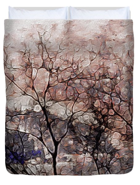 Duvet Cover featuring the mixed media Misty Sunrise On Whidbey Island by Susan Maxwell Schmidt