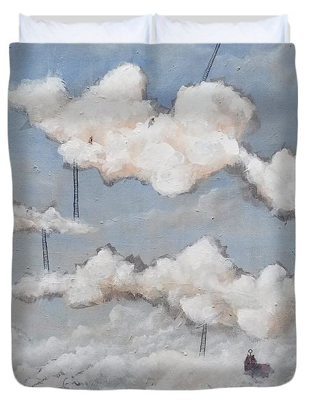 Duvet Cover featuring the painting Misty Town  by Mariusz Zawadzki