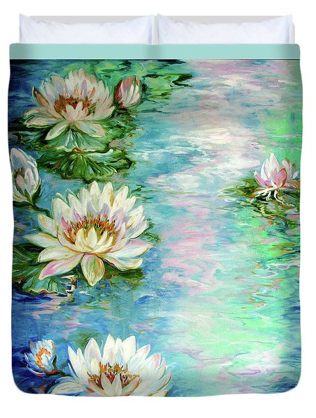 Misty Waters Waterlily Pond Duvet Cover