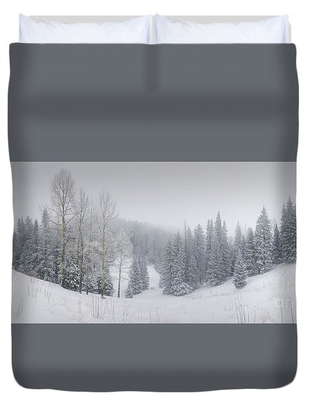 Misty Winter Panorama Duvet Cover