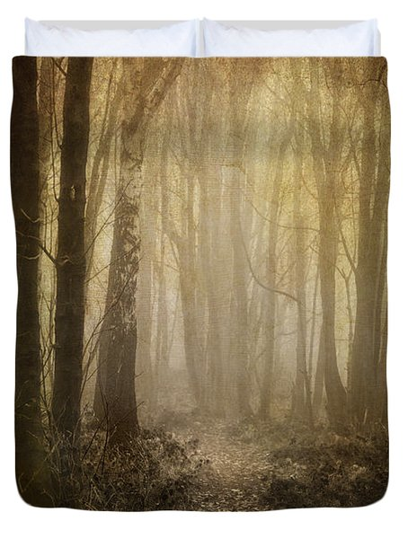 Misty Woodland Path Duvet Cover