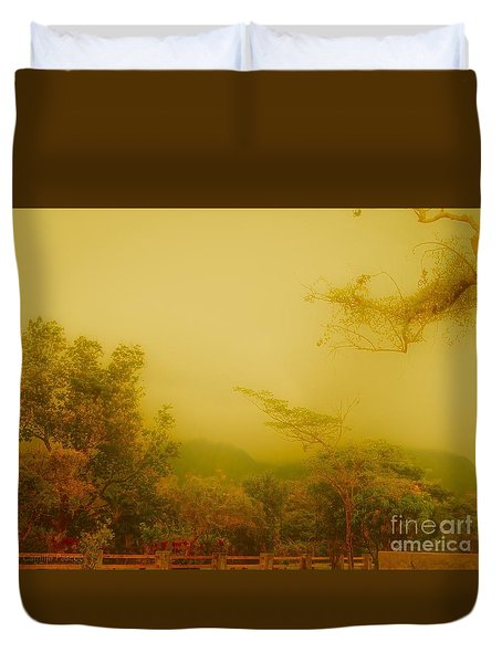Misty Yellow Hue- El Valle De Anton Duvet Cover
