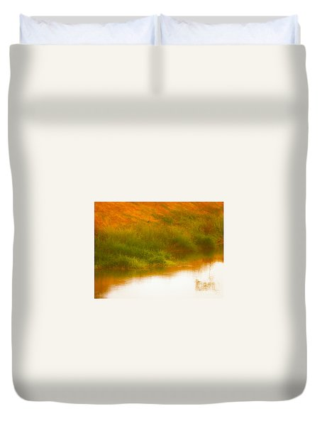 Misty Yellow Hue -lone Jacana Duvet Cover