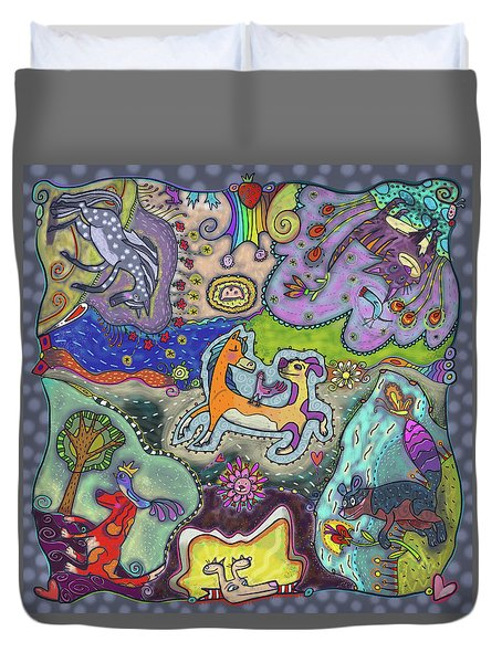 Duvet Cover featuring the painting Mixed Animal Faves by Marti McGinnis