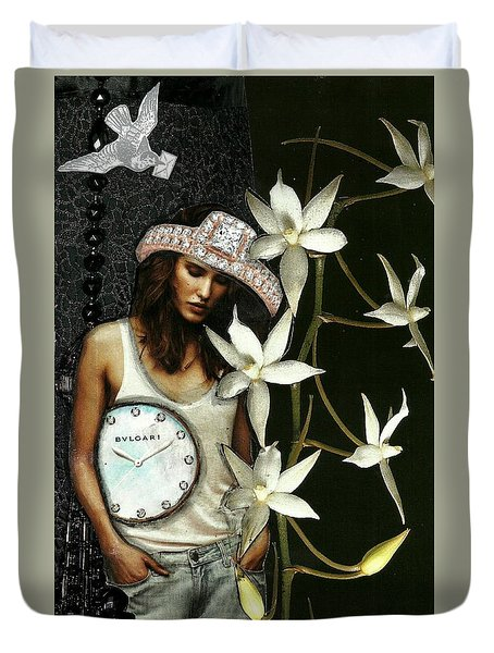 Mixed Media Collage Lost In Thought Duvet Cover