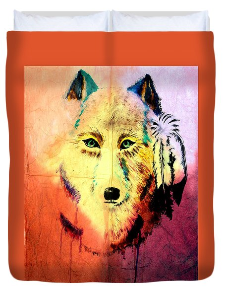 Mixed Media Painting Of Spirit Of The Wolf 2 By Ayasha Loya Duvet Cover by Ayasha Loya